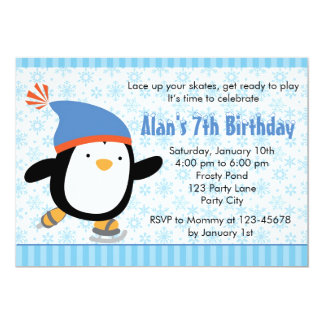 ペンギンの招待状-男の子の誕生日(雪片) 12.7 X 17.8 インビテーションカード
