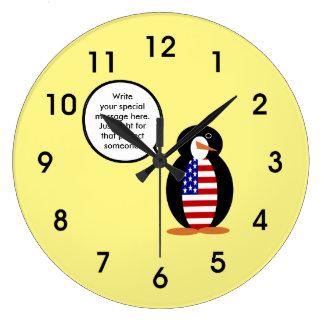 ペンギンの旗を話す米国 ラージ壁時計