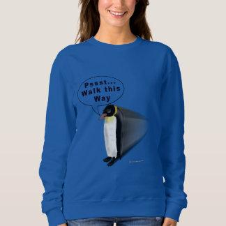 ペンギンの歩行の女性スエットシャツ スウェットシャツ