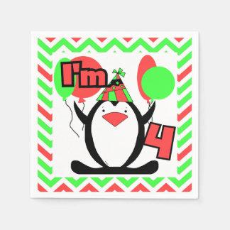 ペンギンの第4誕生日の紙ナプキン スタンダードカクテルナプキン