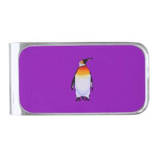 ペンギンの紫色 銀色 マネークリップ