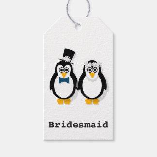 ペンギンの結婚祝いのラベル(カスタマイズ可能な) ギフトタグ