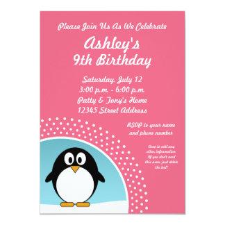 ペンギンの誕生日のパーティの招待状 カード