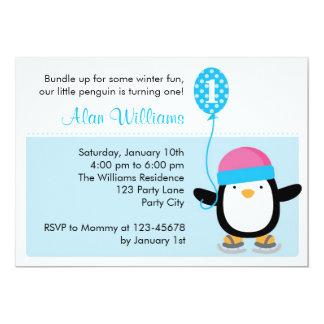 ペンギンの誕生日の招待状-男の子(冬) 12.7 X 17.8 インビテーションカード