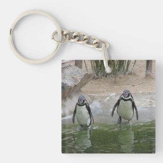 ペンギンは水泳のために行きます キーホルダー