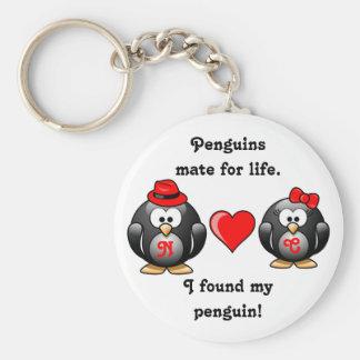 ペンギンはI生命組の赤いハートのための私の仲間を見つけました キーホルダー