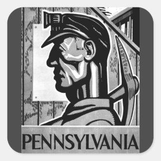 ペンシルバニアの石炭ポスターWPA 1938年のステッカー スクエアシール