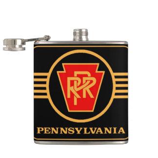ペンシルバニアの鉄道ロゴ、黒及び金ゴールド フラスク