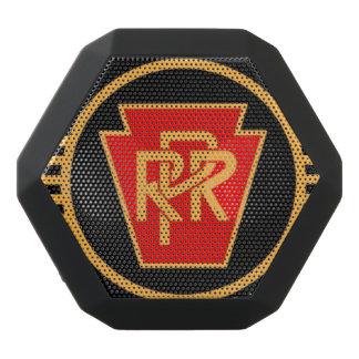 ペンシルバニアの鉄道ロゴ、黒及び金ゴールド ブラックBluetoothスピーカー