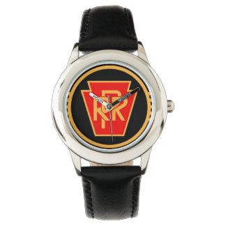 ペンシルバニアの鉄道ロゴ、黒及び金ゴールド 腕時計