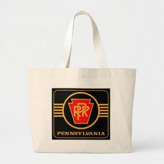 ペンシルバニアの鉄道台形、黒及び金ゴールド ラージトートバッグ