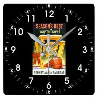 ペンシルバニアの鉄道、走行する季節で最も最高のな方法 スクエア壁時計