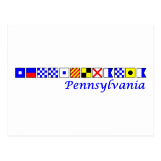 ペンシルバニアは航海のな旗のアルファベットで綴りました ポストカード