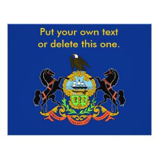 ペンシルバニア、米国の旗が付いているフライヤ チラシ