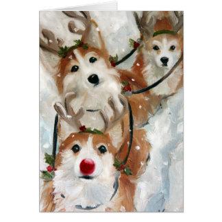 ペンブロークのウェルシュコーギーのクリスマスのトナカイ カード