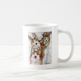 ペンブロークのウェルシュコーギーのクリスマスのトナカイ コーヒーマグカップ