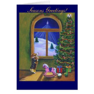 ペンブロークのウェルシュコーギーのクリスマスカード カード