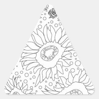 ページを着色するヒマワリ 三角形シール
