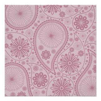 ペーズリーピンクのパターン ポスター