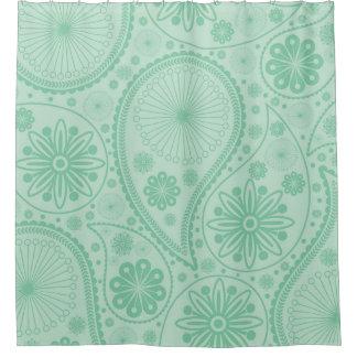 ペーズリー真新しい緑のパターン シャワーカーテン