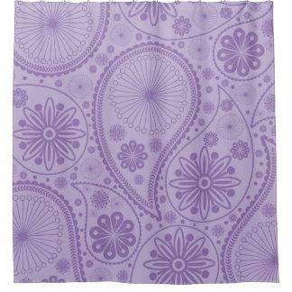 ペーズリー紫色のパターン シャワーカーテン