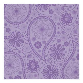 ペーズリー紫色のパターン ポスター