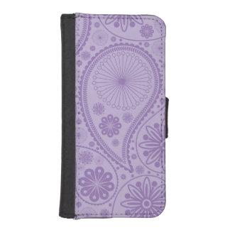 ペーズリー紫色のパターン iPhoneSE/5/5sウォレットケース