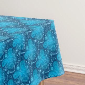 ペーズリー継ぎ目が無く青いパターン。 エレガントなスタイル テーブルクロス