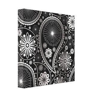 ペーズリー銀製のパターン キャンバスプリント