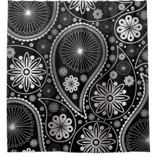 ペーズリー銀製のパターン シャワーカーテン