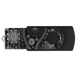 ペーズリー銀製のパターン USBフラッシュドライブ