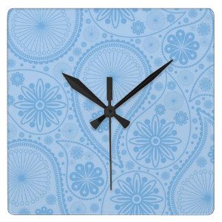 ペーズリー青いパターン スクエア壁時計