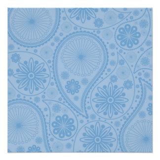 ペーズリー青いパターン ポスター