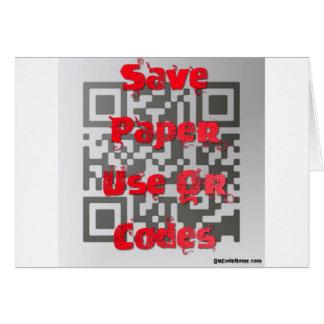 ペーパーを救って下さい、QRコードを使用して下さい カード