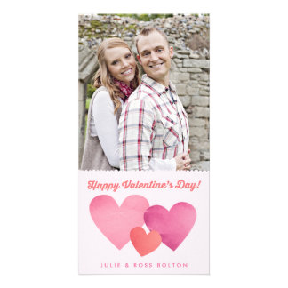 ペーパーハートのバレンタインデーの写真カード カード