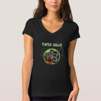 ペーパー人形のスーパーヒーローの女性のTシャツ Tシャツ