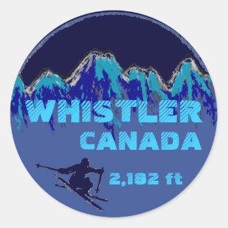 ホイスラーのカナダの青いスキー芸術のステッカー ラウンドシール