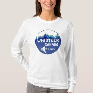 ホイスラーのカナダの青いスキー芸術の女性フード付きスウェットシャツ Tシャツ
