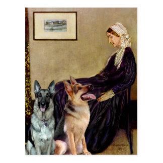 ホイスラーの母- 2匹のジャーマン・シェパード ポストカード