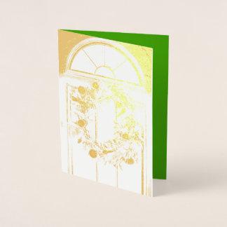 ホイルのメリークリスマスのリースの挨拶状 箔カード