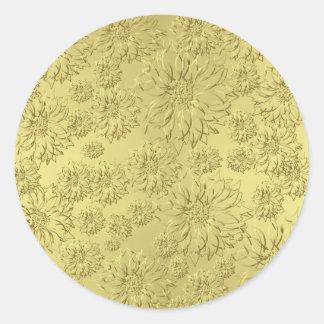 ホイルの紙の金クリスマスのポインセチア ラウンドシール