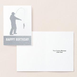 ホイルの魚釣りのハッピーバースデーのカスタム・カード 箔カード