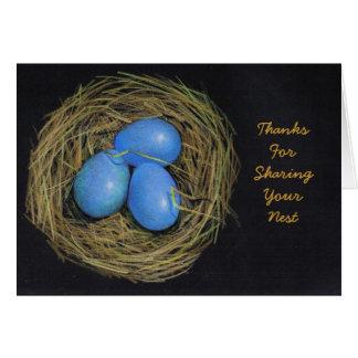 ホスピタリティの感謝: 鳥の卵、巣: 芸術 カード