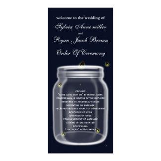 ホタルのメーソンジャーの結婚式プログラム ラックカード