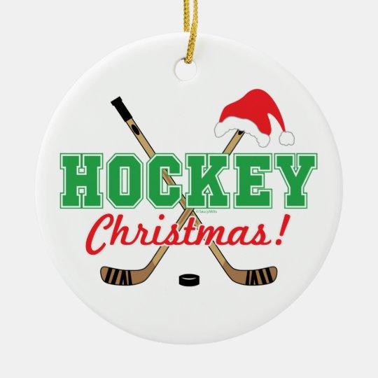 ホッケーのクリスマスのアイスホッケー用スティックのサンタの帽子 セラミックオーナメント