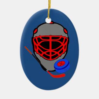 ホッケーのクリスマスオーナメント-マスクの棒のパック セラミックオーナメント