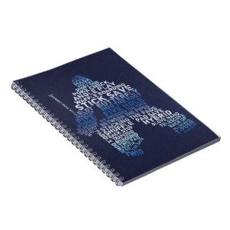 ホッケーのゴールキーパーのタイポグラフィのノート ノートブック