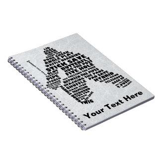 ホッケーのゴールキーパーの文字の芸術のノート ノートブック