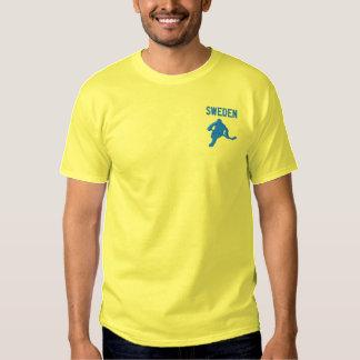ホッケーのスウェーデンのカスタムなスウェーデンのスポーツ 刺繍入りTシャツ