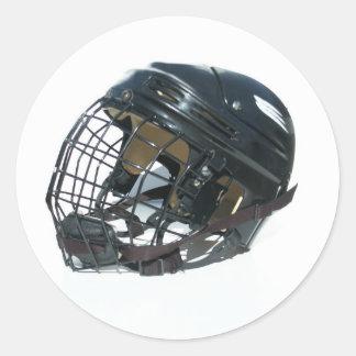 ホッケーのヘルメット 丸形シールステッカー